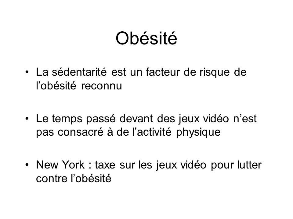 Obésité La sédentarité est un facteur de risque de l'obésité reconnu Le temps passé devant des jeux vidéo n'est pas consacré à de l'activité physique