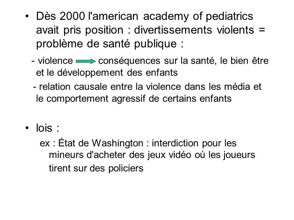 Dès 2000 l'american academy of pediatrics avait pris position : divertissements violents = problème de santé publique : - violence conséquences sur la