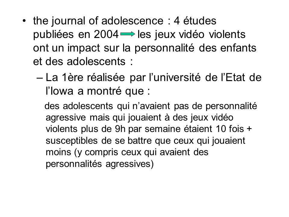 the journal of adolescence : 4 études publiées en 2004 les jeux vidéo violents ont un impact sur la personnalité des enfants et des adolescents : –La