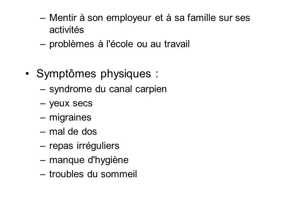 –Mentir à son employeur et à sa famille sur ses activités –problèmes à l'école ou au travail Symptômes physiques : –syndrome du canal carpien –yeux se