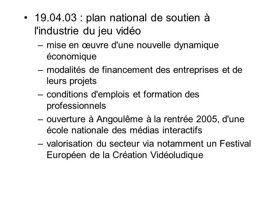 19.04.03 : plan national de soutien à l'industrie du jeu vidéo –mise en œuvre d'une nouvelle dynamique économique –modalités de financement des entrep