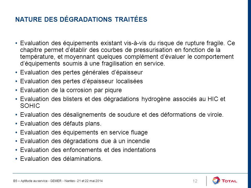 NATURE DES DÉGRADATIONS TRAITÉES 12 Evaluation des équipements existant vis-à-vis du risque de rupture fragile.