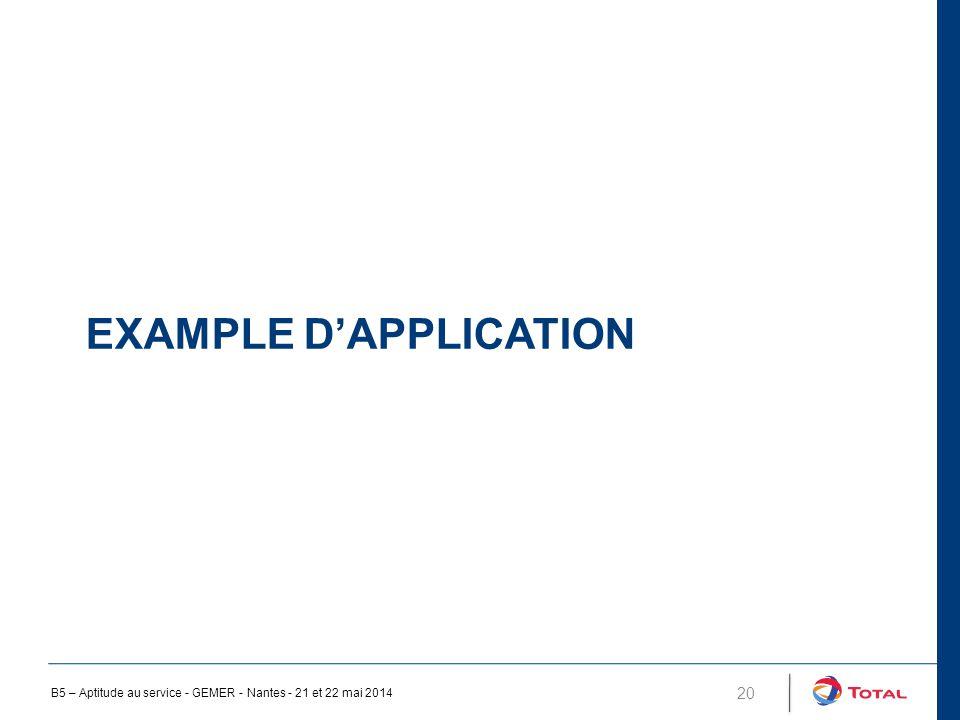 EXAMPLE D'APPLICATION 20 B5 – Aptitude au service - GEMER - Nantes - 21 et 22 mai 2014