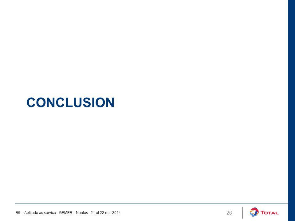 CONCLUSION 26 B5 – Aptitude au service - GEMER - Nantes - 21 et 22 mai 2014