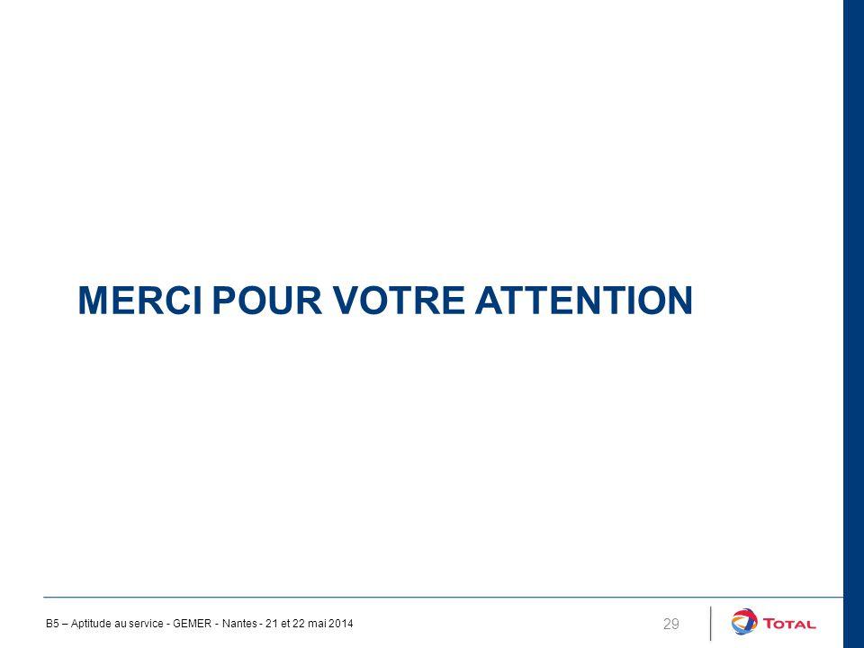 MERCI POUR VOTRE ATTENTION 29 B5 – Aptitude au service - GEMER - Nantes - 21 et 22 mai 2014