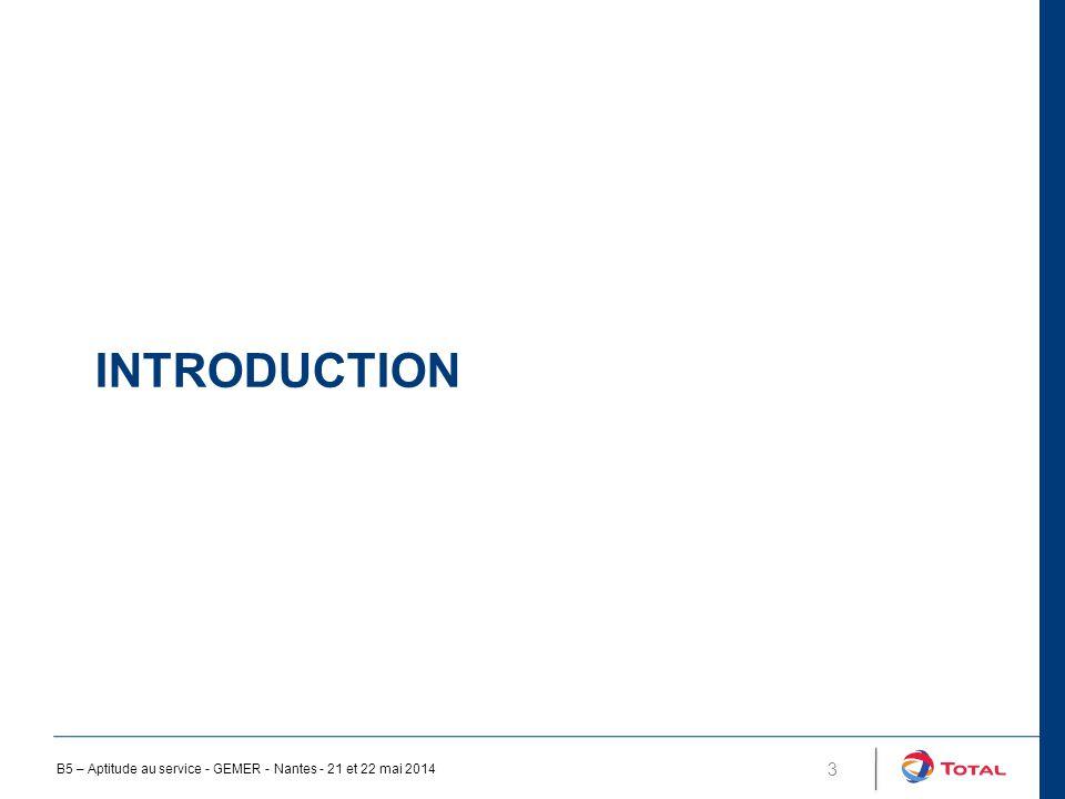 INTRODUCTION 4 ESP sont des équipement présentant un danger Depuis longtemps soumis à réglementation Conception, fabrication régit par des codes (CODAP, CODETI, COVAP, ASME, AD Merkblatt… Documents conçu pour la fabrication d'équipement neufs, Documents de référence pour le suivi en service, mais : Dédié au traitement des défauts rencontrés dans la fabrication Ne traite pas des dégradations en service (détection, à la caractérisation et à l'évaluation ) Leur emploi pour le suivi en service peut conduire à être conservatif ou au contraire à ne pas l'être Ceci a conduit les éditeurs de code ou des organisations professionnels à étudier et publier des documents spécifiques au suivi en service B5 – Aptitude au service - GEMER - Nantes - 21 et 22 mai 2014