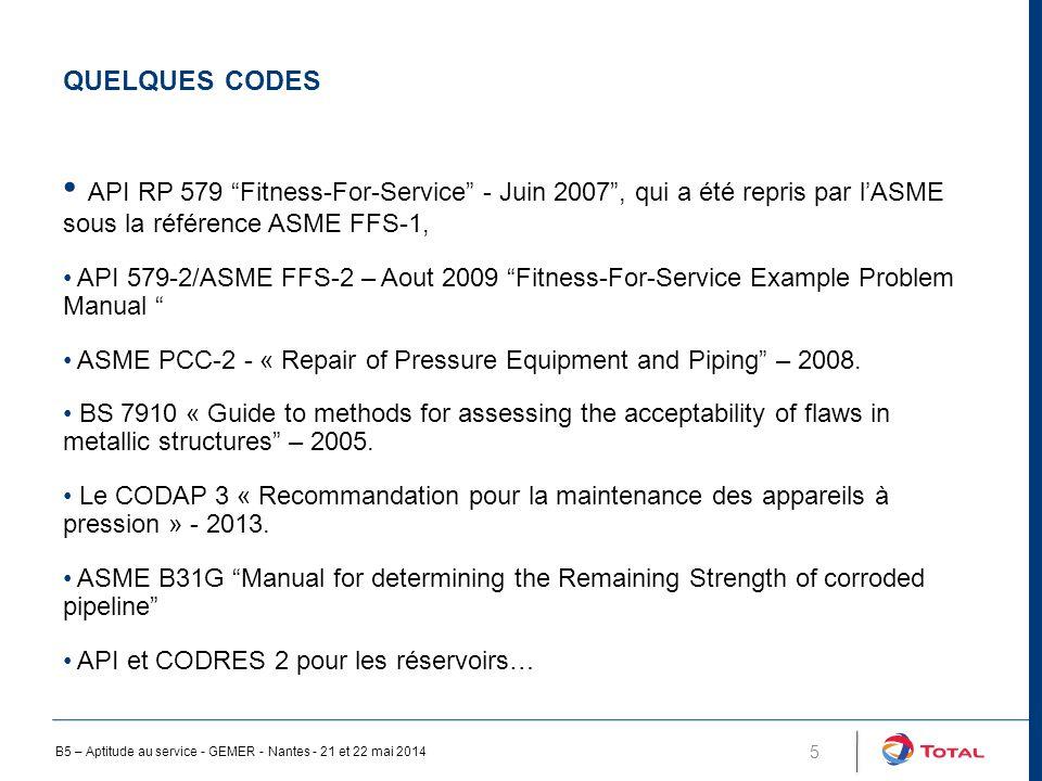 QUELQUES CODES 5 API RP 579 Fitness-For-Service - Juin 2007 , qui a été repris par l'ASME sous la référence ASME FFS-1, API 579-2/ASME FFS-2 – Aout 2009 Fitness-For-Service Example Problem Manual ASME PCC-2 - « Repair of Pressure Equipment and Piping – 2008.