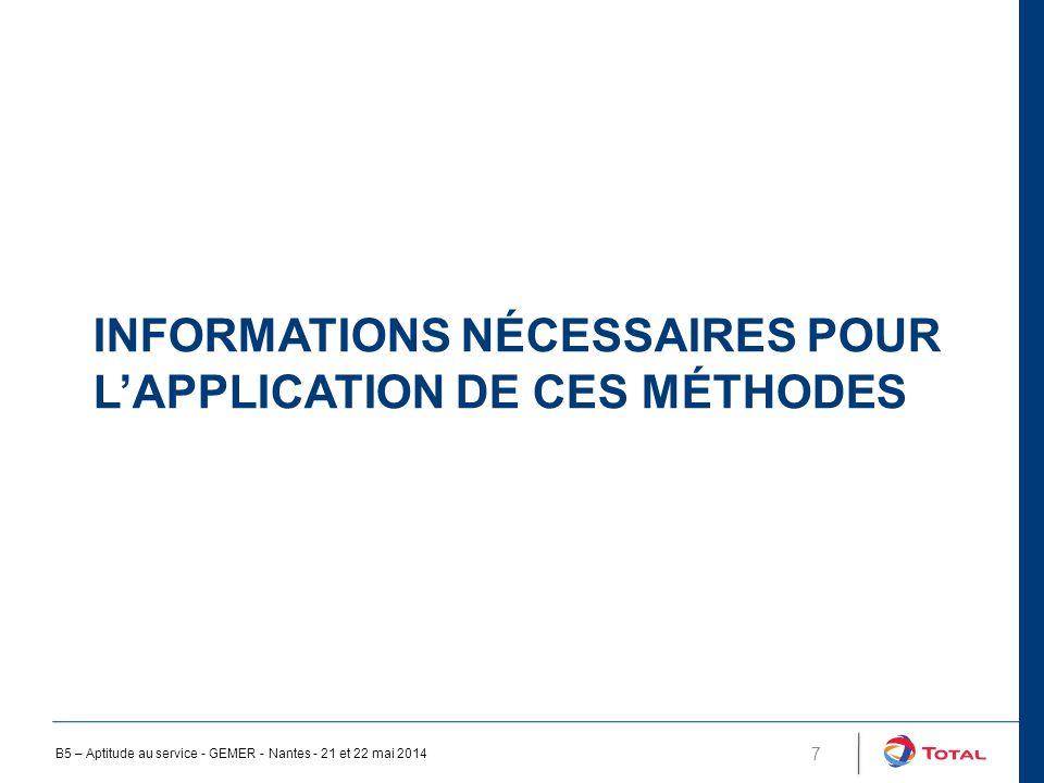 INFORMATIONS NÉCESSAIRES POUR L'APPLICATION DE CES MÉTHODES 7 B5 – Aptitude au service - GEMER - Nantes - 21 et 22 mai 2014