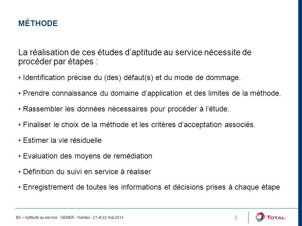 MÉTHODE 8 La réalisation de ces études d'aptitude au service nécessite de procéder par étapes : Identification précise du (des) défaut(s) et du mode de dommage.