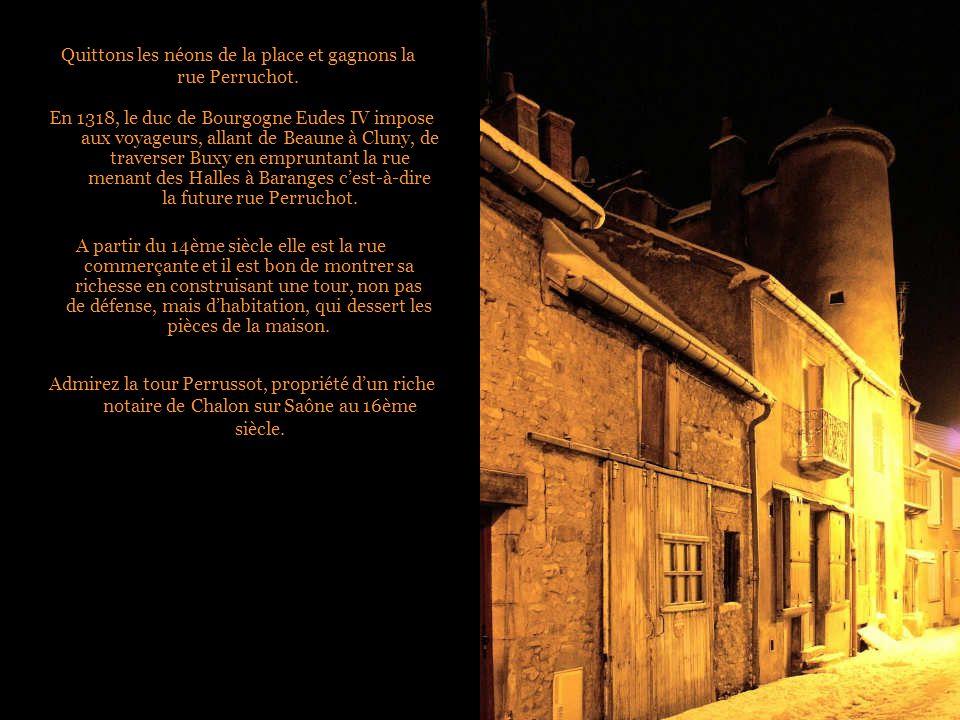 Quittons les néons de la place et gagnons la rue Perruchot.