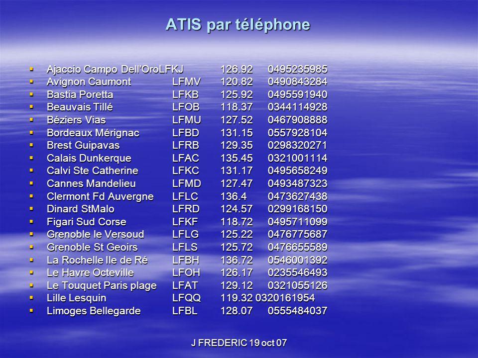 ATIS par téléphone  Ajaccio Campo Dell'OroLFKJ126.920495235985  Avignon CaumontLFMV120.820490843284  Bastia PorettaLFKB125.920495591940  Beauvais