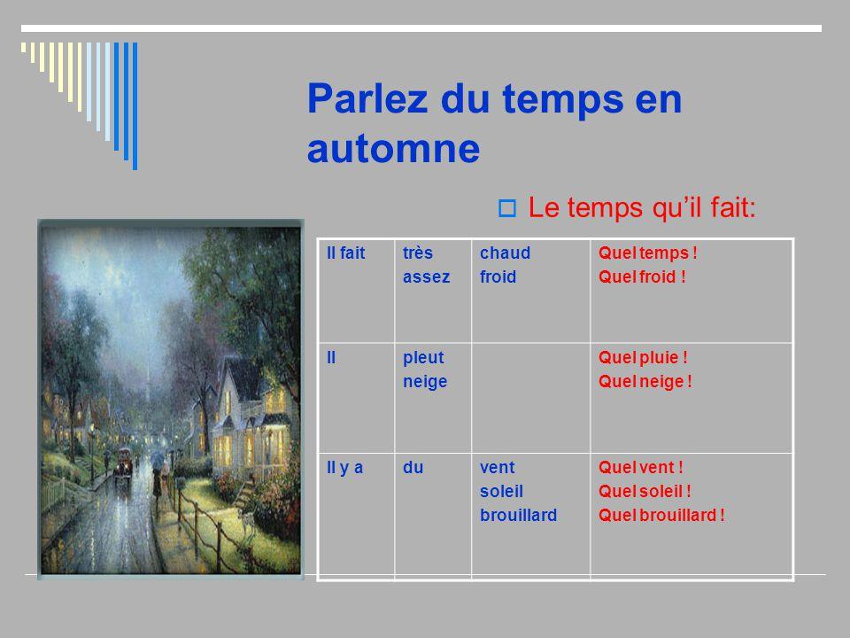 Parlez du temps en automne  Le temps qu'il fait: Il faittrès assez chaud froid Quel temps ! Quel froid ! Ilpleut neige Quel pluie ! Quel neige ! Il y