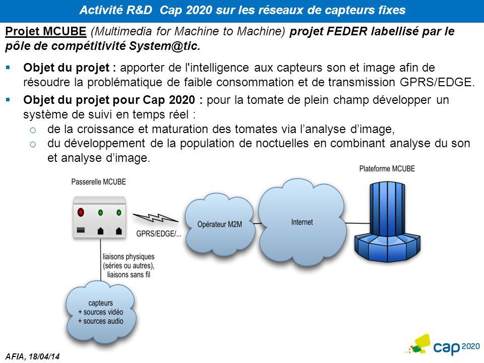 AFIA, 18/04/14 Activité R&D Cap 2020 sur les réseaux de capteurs fixes Projet MCUBE (Multimedia for Machine to Machine) projet FEDER labellisé par le