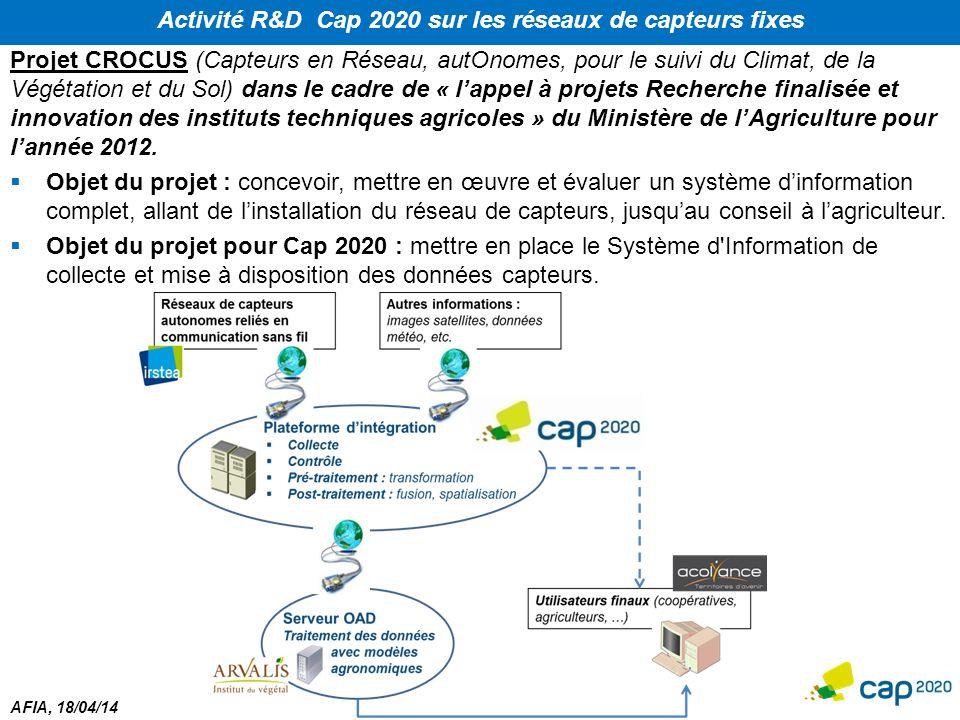 AFIA, 18/04/14 Activité R&D Cap 2020 sur les réseaux de capteurs fixes Projet CROCUS (Capteurs en Réseau, autOnomes, pour le suivi du Climat, de la Vé