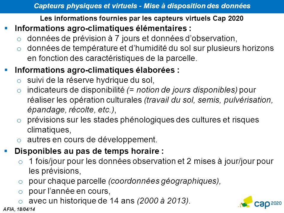 AFIA, 18/04/14 Capteurs physiques et virtuels - Mise à disposition des données  Informations agro-climatiques élémentaires : o données de prévision à