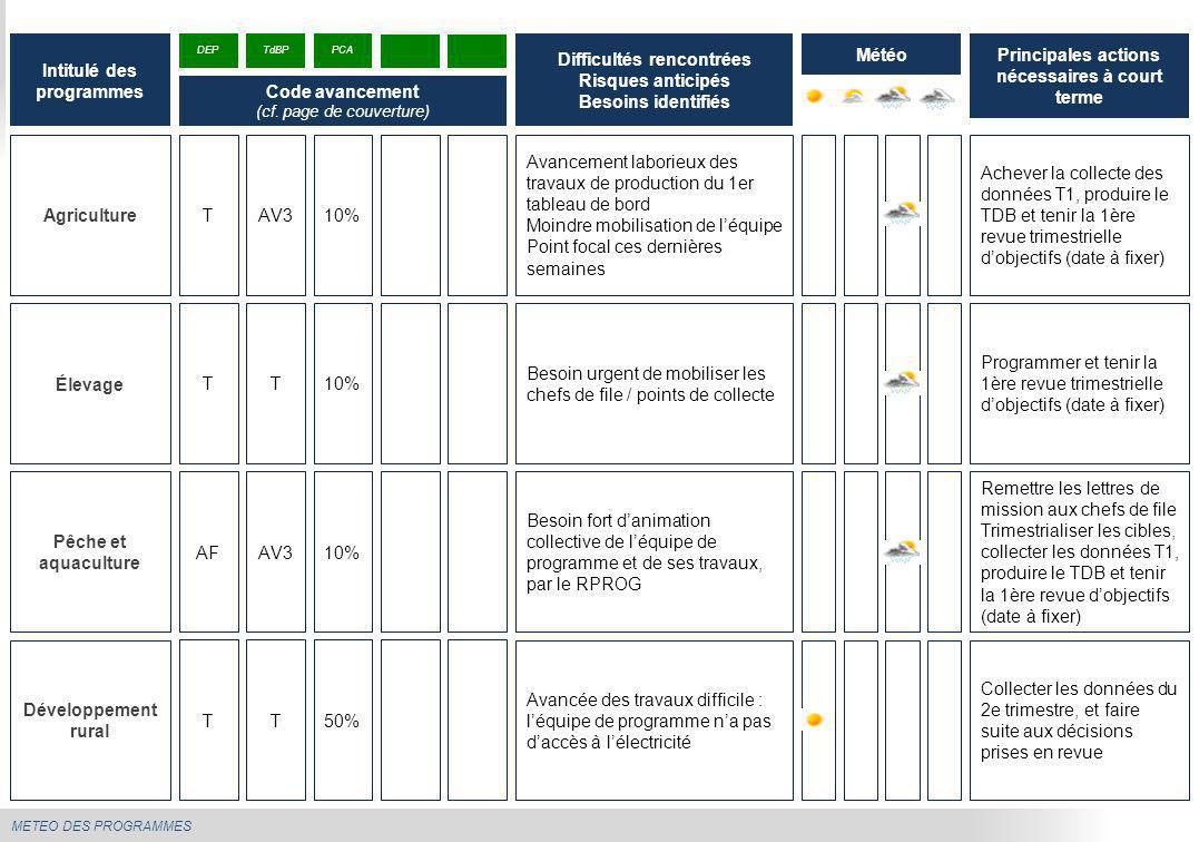 METEO DES PROGRAMMES Agriculture Avancement laborieux des travaux de production du 1er tableau de bord Moindre mobilisation de l'équipe Point focal ce