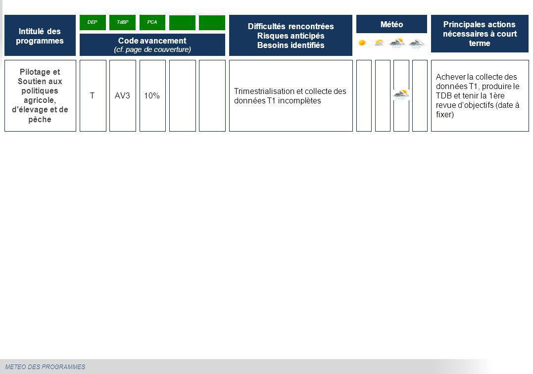 METEO DES PROGRAMMES Pilotage et Soutien aux politiques agricole, d'élevage et de pêche Trimestrialisation et collecte des données T1 incomplètes Ache