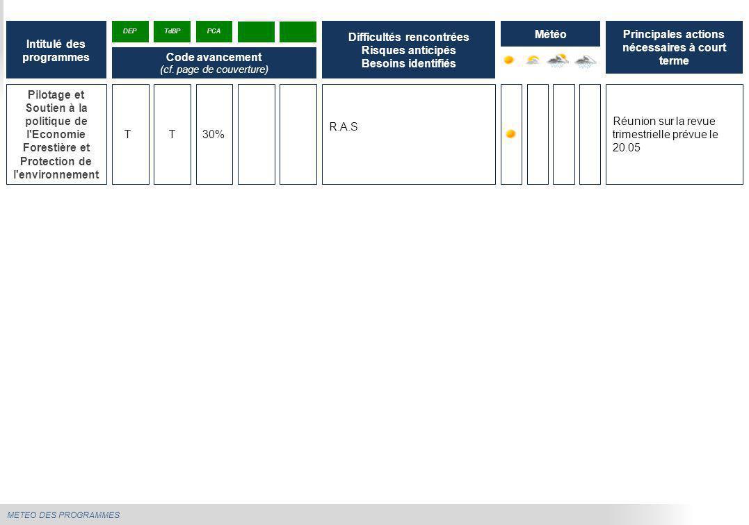 METEO DES PROGRAMMES Pilotage et Soutien à la politique de l'Economie Forestière et Protection de l'environnement R.A.S Réunion sur la revue trimestri