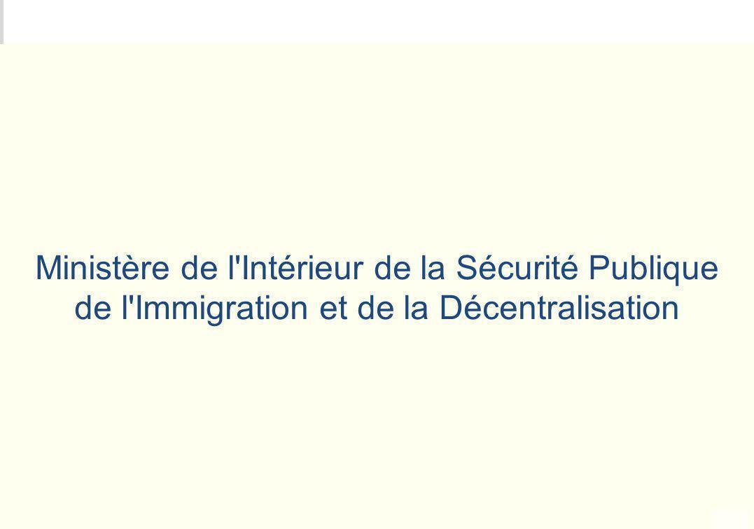 METEO DES PROGRAMMES Ministère de l'Intérieur de la Sécurité Publique de l'Immigration et de la Décentralisation