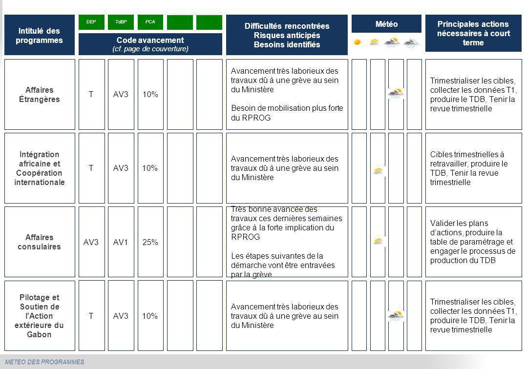 METEO DES PROGRAMMES Elaboration et pilotage de la politique économique R.A.S Programmer et tenir la revue trimestrielle Établir le calendrier des revues de suivi-pilotage Intitulé des programmes Difficultés rencontrées Risques anticipés Besoins identifiés Météo DEP Code avancement (cf.