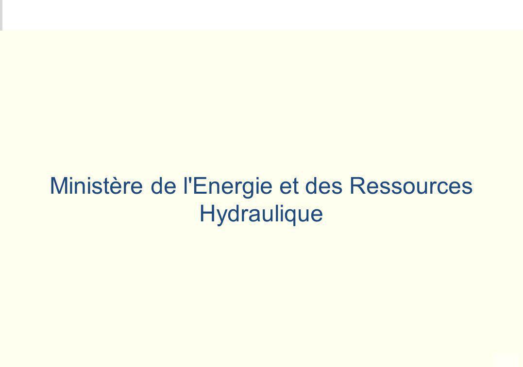 METEO DES PROGRAMMES Ministère de l'Energie et des Ressources Hydraulique