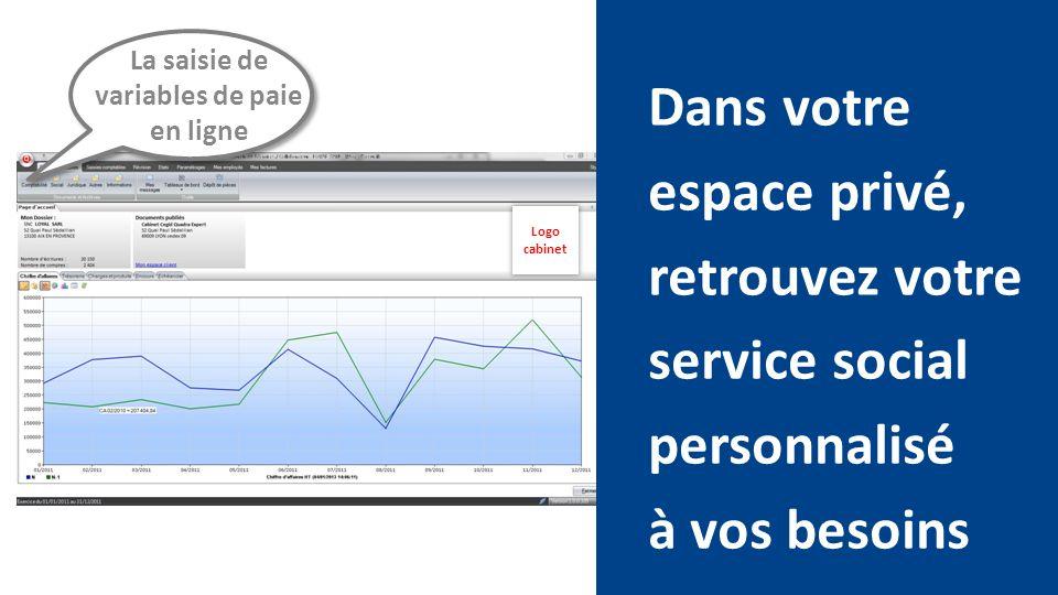 Dans votre espace privé, retrouvez votre service social personnalisé à vos besoins La saisie de variables de paie en ligne Logo cabinet