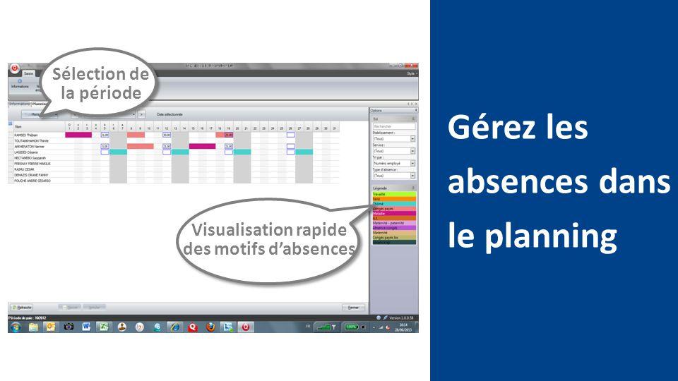 Gérez les absences dans le planning Sélection de la période Visualisation rapide des motifs d'absences