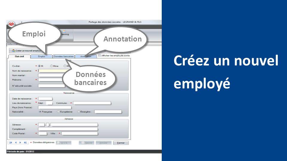 Créez un nouvel employé Emploi Données bancaires Annotation