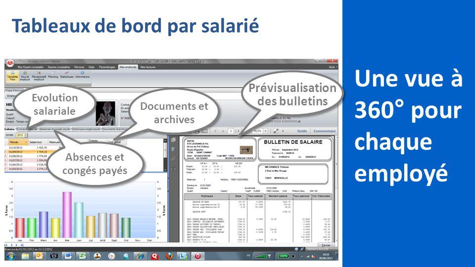 13 Tableaux de bord par salarié Une vue à 360° pour chaque employé Evolution salariale Absences et congés payés Documents et archives Prévisualisation des bulletins