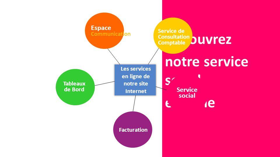 Découvrez notre service social en ligne Les services en ligne de notre site Internet Espace Communication Service de Consultation Comptable Service social Facturation Tableaux de Bord