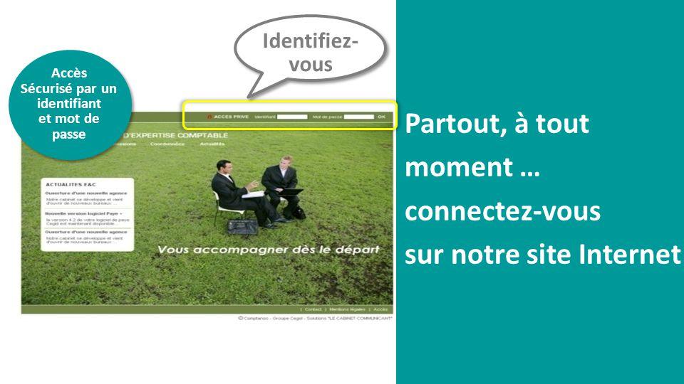 Partout, à tout moment … connectez-vous sur notre site Internet Identifiez- vous Accès Sécurisé par un identifiant et mot de passe