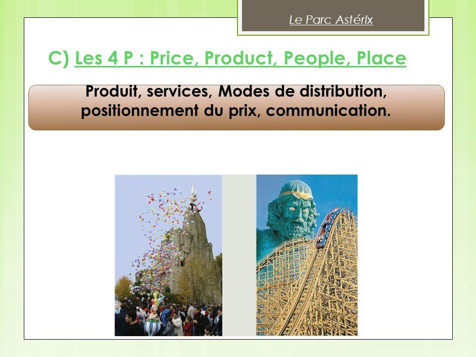 Produit, services, Modes de distribution, positionnement du prix, communication. C) Les 4 P : Price, Product, People, Place Le Parc Astérix