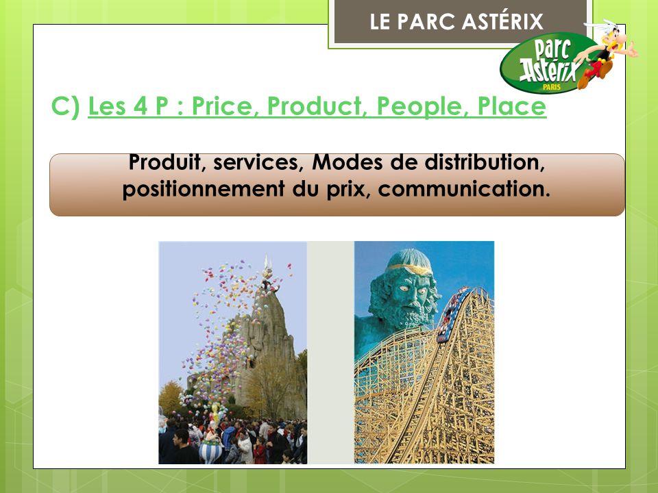 LE PARC ASTÉRIX Produit, services, Modes de distribution, positionnement du prix, communication. C) Les 4 P : Price, Product, People, Place