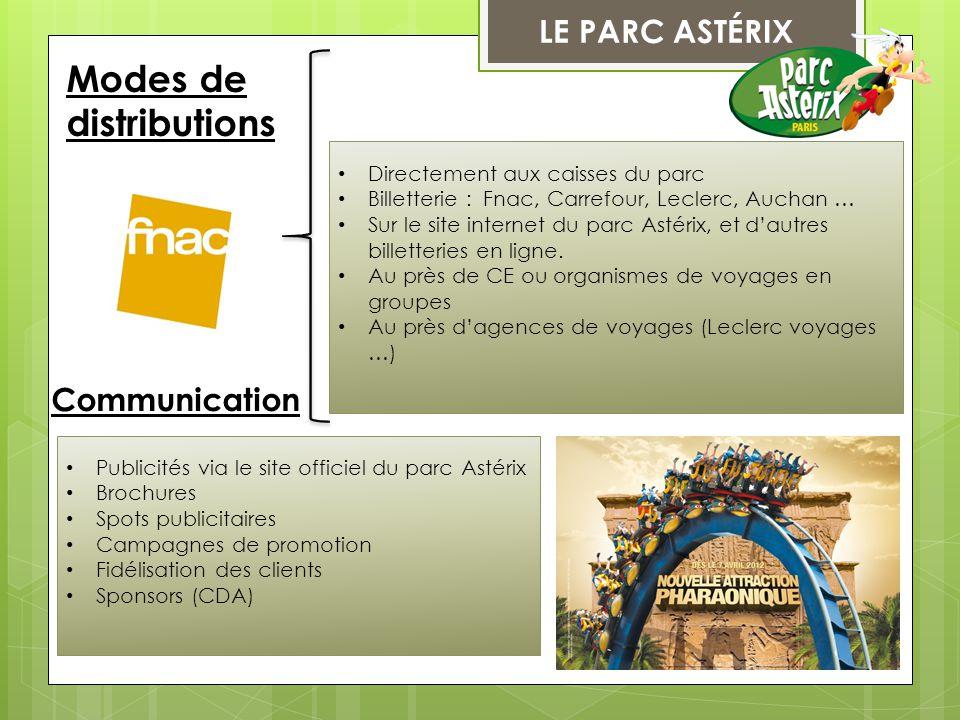 LE PARC ASTÉRIX Communication Modes de distributions Directement aux caisses du parc Billetterie : Fnac, Carrefour, Leclerc, Auchan … Sur le site inte