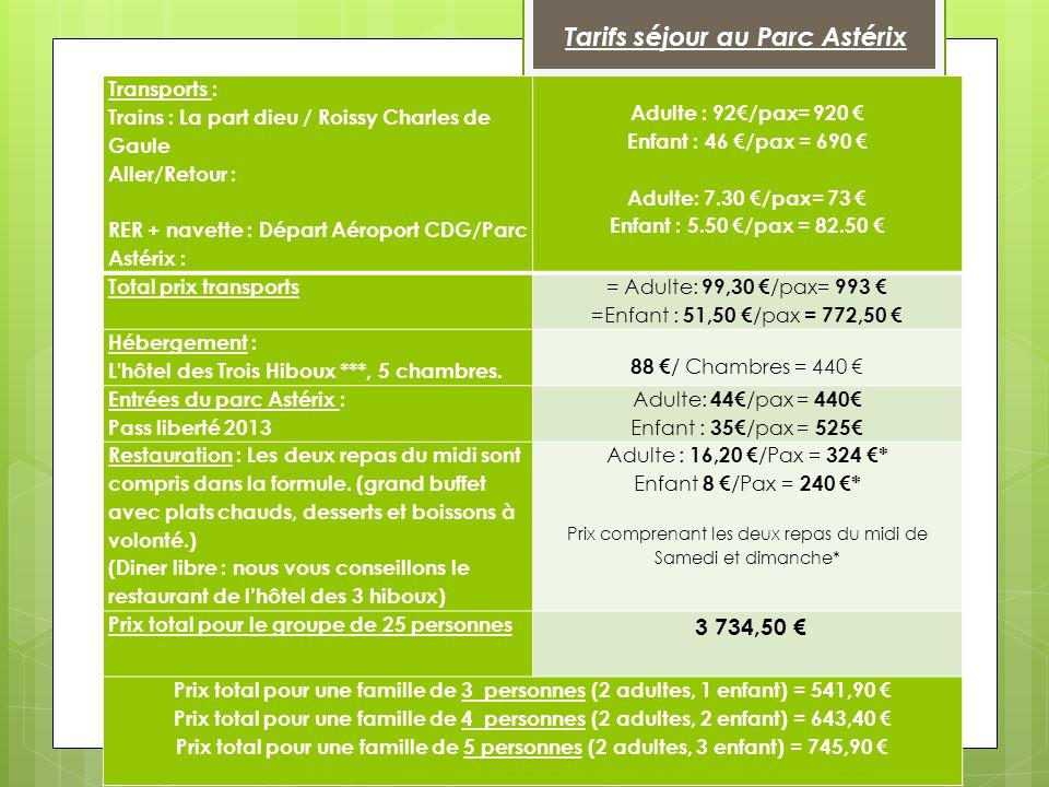 Transports : Trains : La part dieu / Roissy Charles de Gaule Aller/Retour : RER + navette : Départ Aéroport CDG/Parc Astérix : Adulte : 92€/pax= 920 €