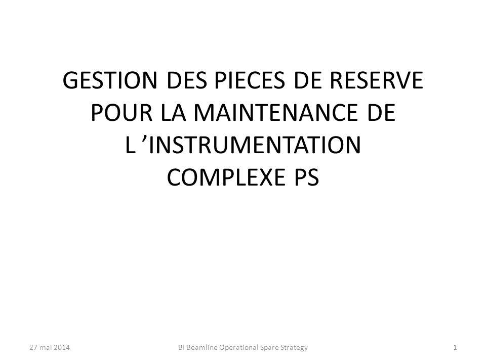 GESTION DES PIECES DE RESERVE POUR LA MAINTENANCE DE L 'INSTRUMENTATION COMPLEXE PS 27 mai 2014BI Beamline Operational Spare Strategy1