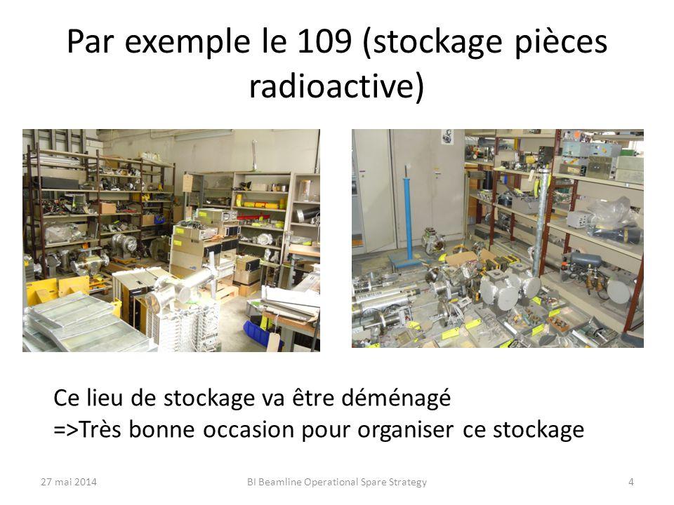 Par exemple le 109 (stockage pièces radioactive) Ce lieu de stockage va être déménagé =>Très bonne occasion pour organiser ce stockage 27 mai 2014BI Beamline Operational Spare Strategy4