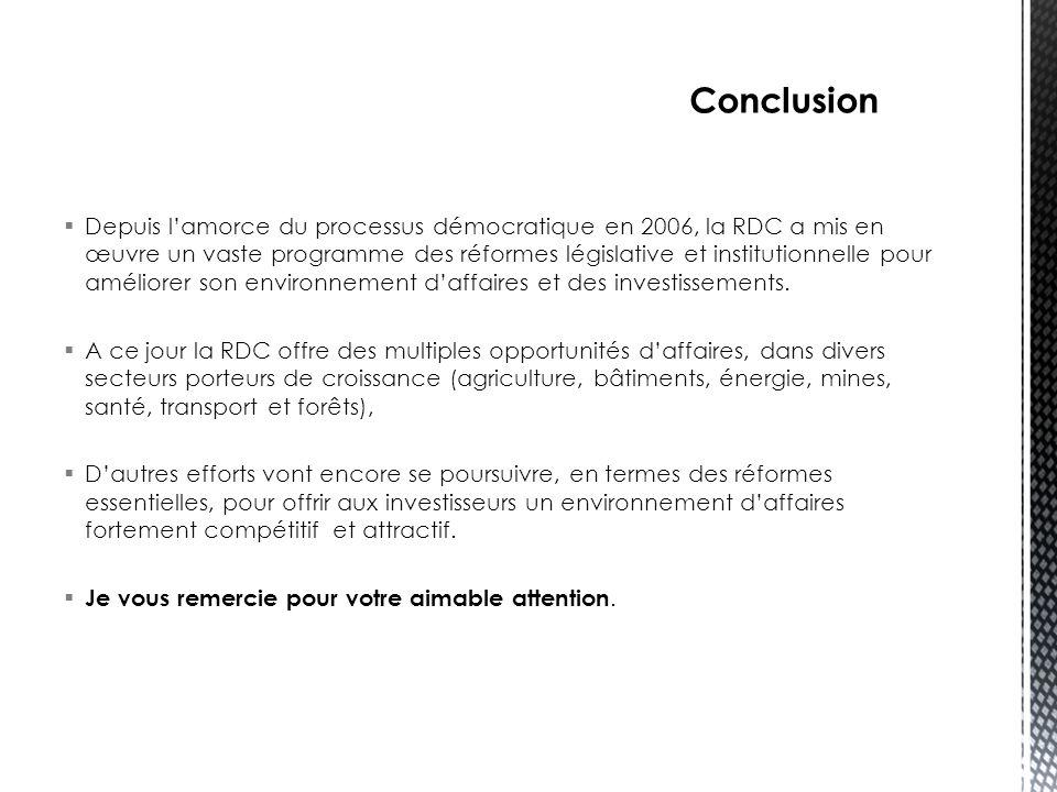  Depuis l'amorce du processus démocratique en 2006, la RDC a mis en œuvre un vaste programme des réformes législative et institutionnelle pour amélio