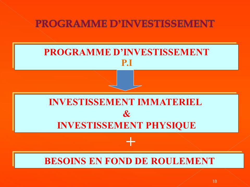 18 PROGRAMME D'INVESTISSEMENT P.I INVESTISSEMENT IMMATERIEL & INVESTISSEMENT PHYSIQUE BESOINS EN FOND DE ROULEMENT +