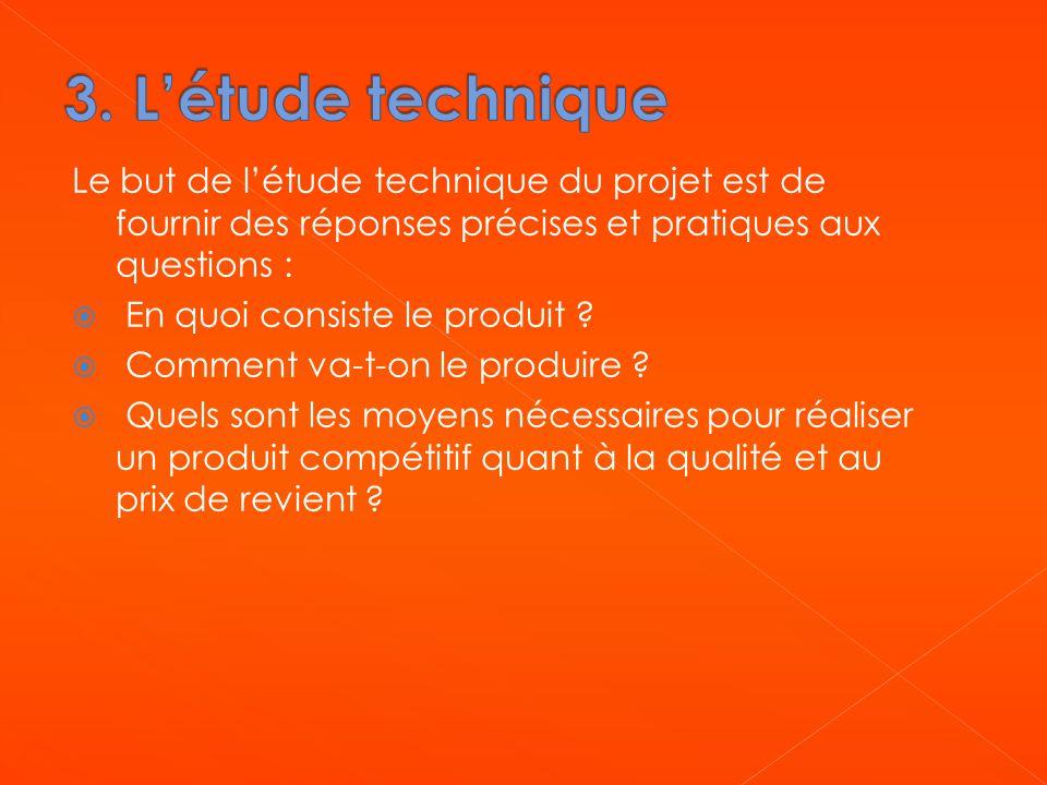 Le but de l'étude technique du projet est de fournir des réponses précises et pratiques aux questions :  En quoi consiste le produit ?  Comment va-t