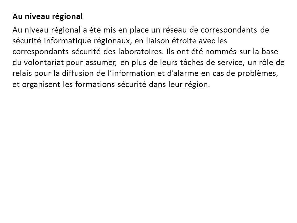 Au niveau régional Au niveau régional a été mis en place un réseau de correspondants de sécurité informatique régionaux, en liaison étroite avec les c