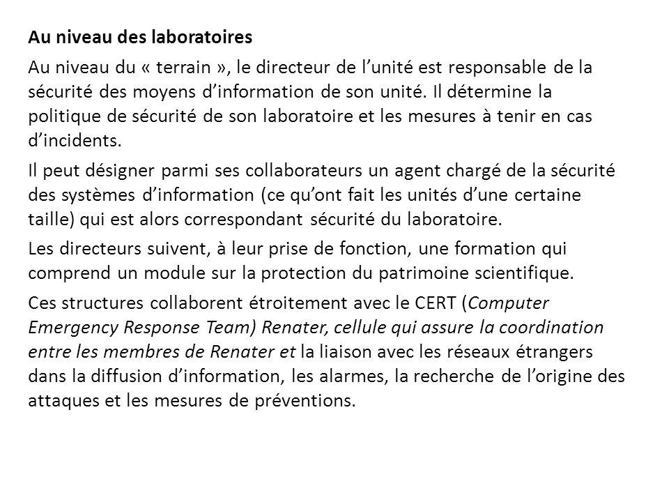 Au niveau des laboratoires Au niveau du « terrain », le directeur de l'unité est responsable de la sécurité des moyens d'information de son unité. Il