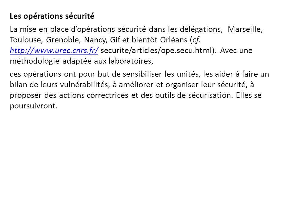 Les opérations sécurité La mise en place d'opérations sécurité dans les délégations, Marseille, Toulouse, Grenoble, Nancy, Gif et bientôt Orléans (cf.