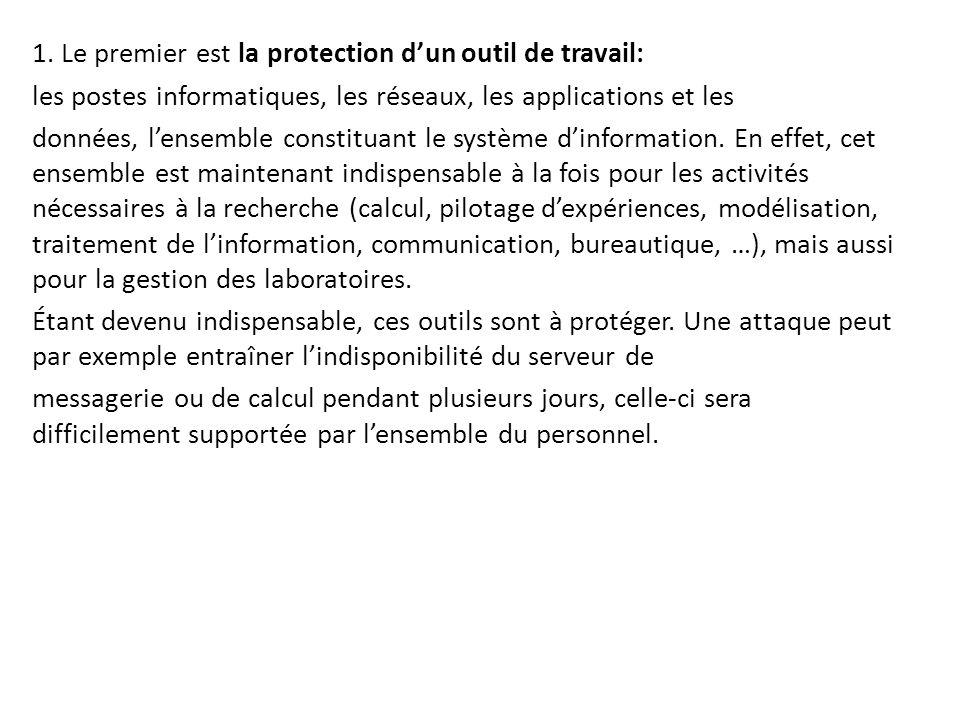 1. Le premier est la protection d'un outil de travail: les postes informatiques, les réseaux, les applications et les données, l'ensemble constituant