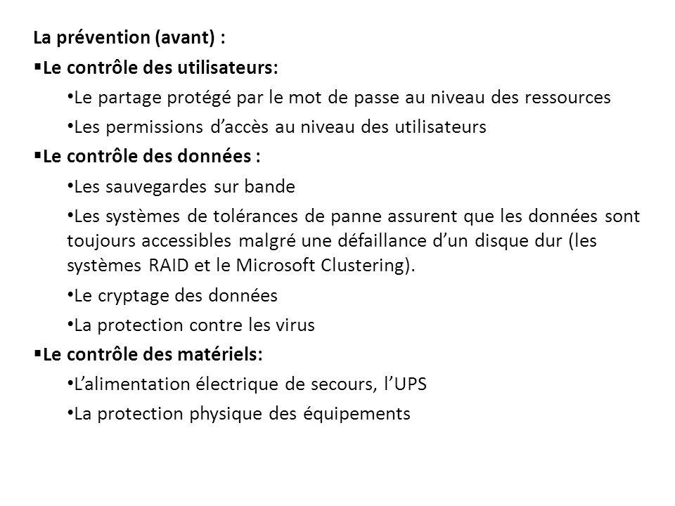 La prévention (avant) :  Le contrôle des utilisateurs: Le partage protégé par le mot de passe au niveau des ressources Les permissions d'accès au niv