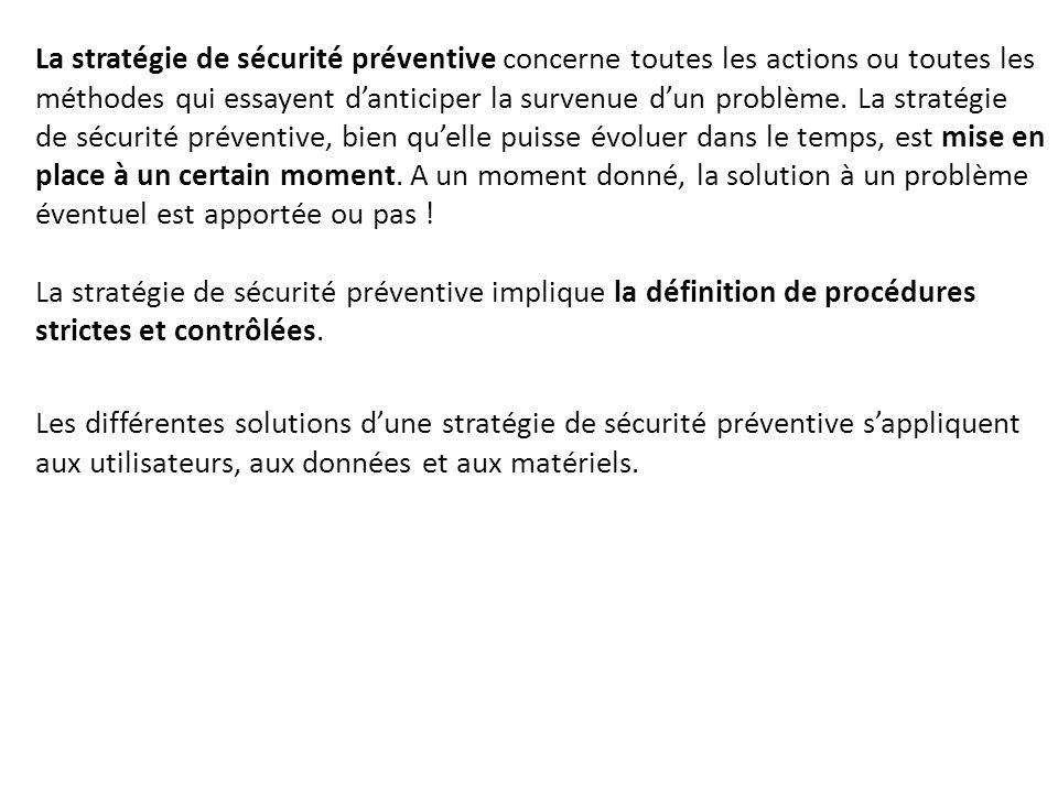 La stratégie de sécurité préventive concerne toutes les actions ou toutes les méthodes qui essayent d'anticiper la survenue d'un problème. La stratégi