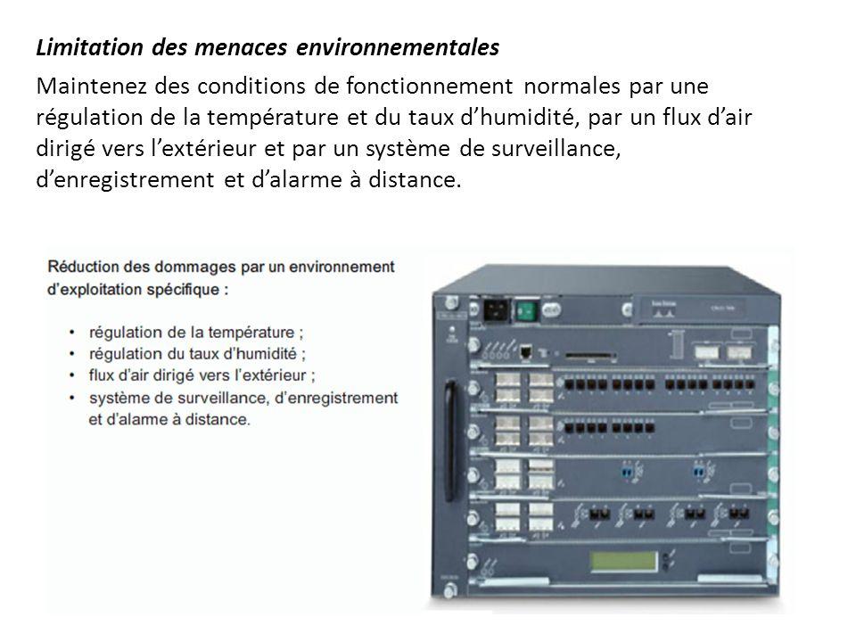 Limitation des menaces environnementales Maintenez des conditions de fonctionnement normales par une régulation de la température et du taux d'humidit