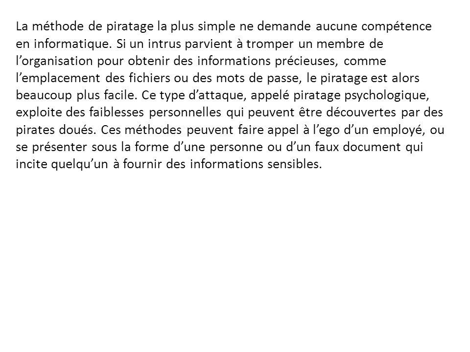 La méthode de piratage la plus simple ne demande aucune compétence en informatique. Si un intrus parvient à tromper un membre de l'organisation pour o