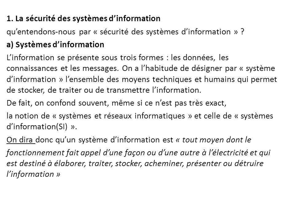 1. La sécurité des systèmes d'information qu'entendons-nous par « sécurité des systèmes d'information » ? a) Systèmes d'information L'information se p