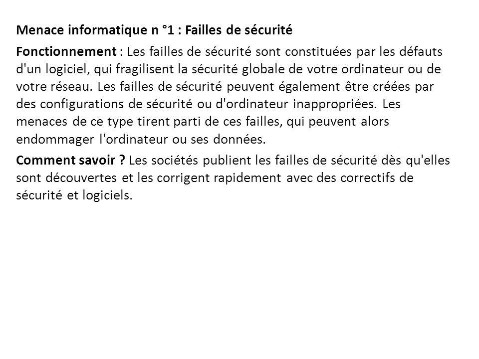 Menace informatique n °1 : Failles de sécurité Fonctionnement : Les failles de sécurité sont constituées par les défauts d'un logiciel, qui fragilisen